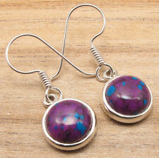 Purple Earrings 1.2 Inch !! 925 Silver Overlay COPPER TURQUOISE ELEGANT Jewelry