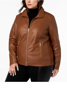 Kenneth Cole Ladies Plus Size Mixed-Media Moto Jacket - Caramel - Size 22 or 26