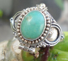925 Sterling Silver Balinese Poison Locket Ring W Green Turquoise Size 6-Rl01
