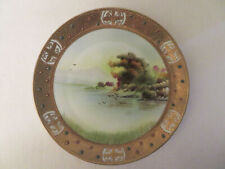 Vtg Nippon Hand Painted Water Trees Birds Scene Gold Ornate Trim Plate Maple Lf