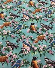 Springs Creative Cherry Pink Birds Floral 100% cotton Fabric by the yard