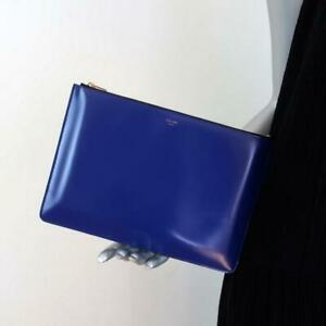 Celine Zip Pouch Cobalt Leather Small Clutch Bag NEW