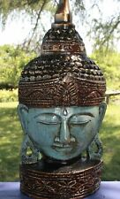 Enlightened Buddha Mask Statue Hand Carved Wood Wall Decor Sculpture Bali Art
