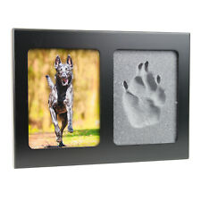 Pfotenabdruck 3D Set Formschaum Hund, Katze Bilderrahmen aus Holz in schwarz