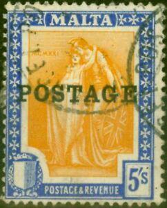 Malta 1926 5s Orange-Yellow & Bright Ultramarine SG155 Fine Used