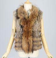 Brown Knit Rabbit Fur Vest Raccoon Fur Waistcoat Coat Gilet Outwear Sweater Top