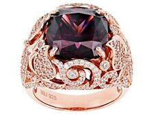 Blush and White Cubic Zirconia 18k Rose Gold Over Sterling Silver Ring 16.07ctw