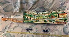 1960 Ohio Art Tin Litho Alpine Station With 2 Technofix Tram Cars EX+ Working