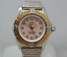 BREITLING CALLISTINO B72345 18K GOLD & S STEEL PINK MOTHER OF PEARL WOMENS WATCH