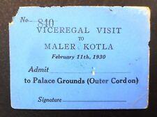 India Maler Kotla State 1930 Monogram On Pass Viceregal Visit  Bt6051