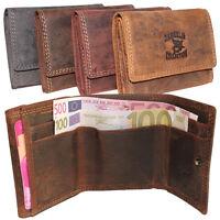 Vintage Leder Mini Börse Portemonnaie Geldbörse Geldbeutel Quer Damen Herren