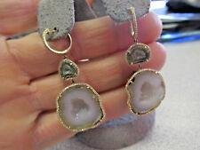 Estate Thundereggs or Agate Geodes and Diamond Chandelier Earrings  Make Offer