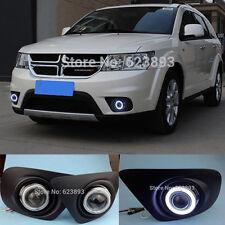 LED Daytime Running Light DRL Fog Lamp+Angel Eyes Kit For Dodge Journey 14-2015