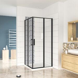 New BLACK Frame Pivot Corner Entry Shower Enclosure Tray Free Waste 800/900/1200