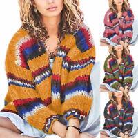 Women Long Sleeve Patchwork Knitted Cardigan Sweater Crochet Outwear Coat Jacket