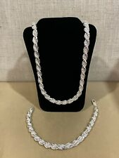".925 Sterling Silver Men's Thick Twisted Rope Chain 24"" & Bracelet 9"" SET"