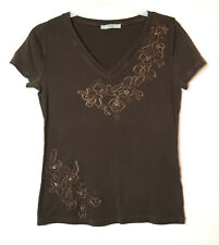 BROWN LADIES CASUAL TOP BLOUSE STRETCH V-NECK M&S SIZE 10 EMBROIDERED FLOWERS