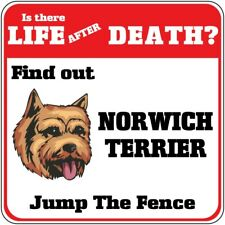 Crossing Sign Norwich Terrier Dog Life After Death Jump Fence Cross Xing Metal