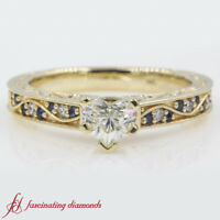 Heart Shaped Diamond And Sapphire Antique Filigree Engagement Ring 0.90 Carat