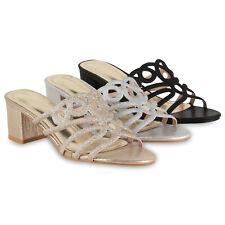 Damen Sandaletten Pantoletten Blockabsatz Sandalen Party Mules 833284 Schuhe