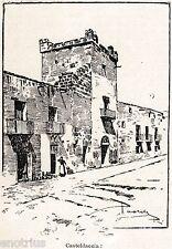 Casteldaccia: Veduta.Palermo.Sicilia.Trinacria.Stampa Antica + Passepartout.1901