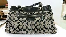 COACH Penelope Signature Jacquard Satchel Grey/Black Shoulder bag F15533 GUC