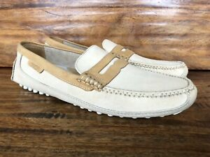 Men's Cole Haan Casual Driving Moc Loafers Beige And Brown Leather Size 9.5