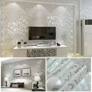 3D Home Decor Metallic Textured Damask Embossed Wallpaper Soft Silver Glitter