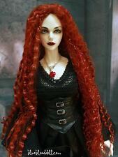 """1/3 bjd 8-9"""" doll head red orange long wig dollfie Luts Iplehouse W-JD220SM130L"""
