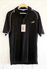 Woodworm Golf Zip Neck Polo Shirt Black with White Piping Size Small