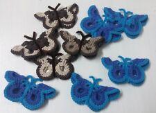 Lotto 9 pz. Farfalle uncinetto in filo/lana decorazione abbigliamento e casa