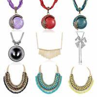 Retro Women Pendant Crystal Choker Chunky Statement Chain Bib Necklace Jewellery