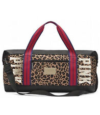 NEW VICTORIA'S SECRET PINK DUFFLE BAG TRAVEL WEEKENDER GOLD BLING LEOPARD PRINT