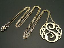 "$16 Carole Initial *S* Initial Pendant & Chain Necklace Goldtone 32"" Long"