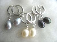 Perle Ohrringe, Weiß grau & Schwarz Süßwasser Perle Ohrringe
