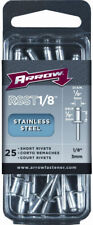 "Arrow Fastener Rsst1/8 Short Stainless Steel Rivets, 1/8"" x 1/8"", 25-Count"