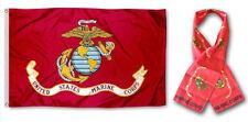 """Wholesale Combo Set USMC EGA Marines Marine 3x5 3'x5' Flag and 8""""x60"""" Scarf"""