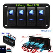 4 Gang Dual LED Lights Bar Car Caravan Marine Boat Rv Rocker Switch Panel 12/24V