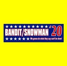"""BANDIT/SNOWMAN '20"" Smokey and the Bandit BUMPER STICKER Burt Reynolds Trans Am"