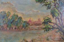 Alain CAPISI (1923) Paysage de Toscane gouache sur papier Italie Chianti Sienne