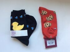 2 PAIRS WOMENS NOVELTY SOCKS * COOKIES & CHICKENS * BLACK/RED * NWT * CUTE!