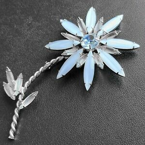 D&E JULIANA Vtg Blue Glass Navette Flower Rhinestone Silver Tone Brooch Pin 626