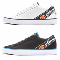 Ellesse Otsuni & Massimo Canvas & Leather Trainers in White & Navy Blue