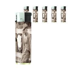 Hot Male Cowboys D9 Lighters Set of 5 Electronic Refillable Butane