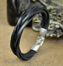 Mens Surfer Braided Cool Leather Wristband Bracelet Cuff Black