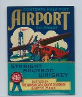 Rare Airport Straight Bourbon Whiskey Half Pint Bottle Label Unused NOS New 1930