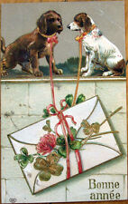 1910 Dog New Year Postcard: Dogs on a Stone Wall - Embossed, Color Litho