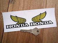 HONDA 70's STYLE 75mm Yellow, Black & White handed WINGS STICKERS Moto X etc