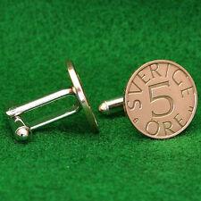 "Swedish Bronze Coin Cufflinks, ""Sverige 5 Ore"" Sweden Scandinavian"