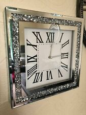 35CM LOOSE DIAMANTE MIRRORED WALL CLOCK CRUSHED JEWEL ROMAN NUMBER GLASS CLOCK